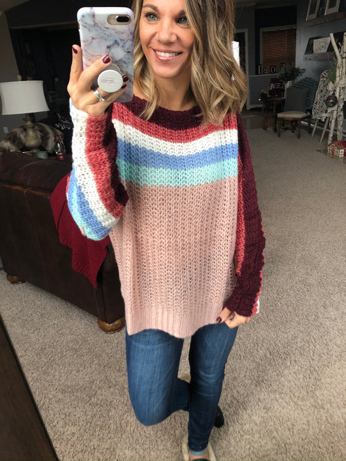 Read My Mind Striped Knit Chunky Sweater-Multi