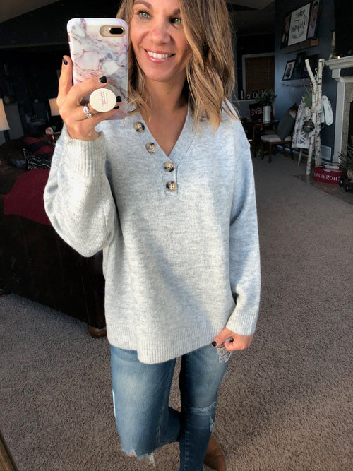 Official Business V-Neck Sweater With Large Buttons - Grey