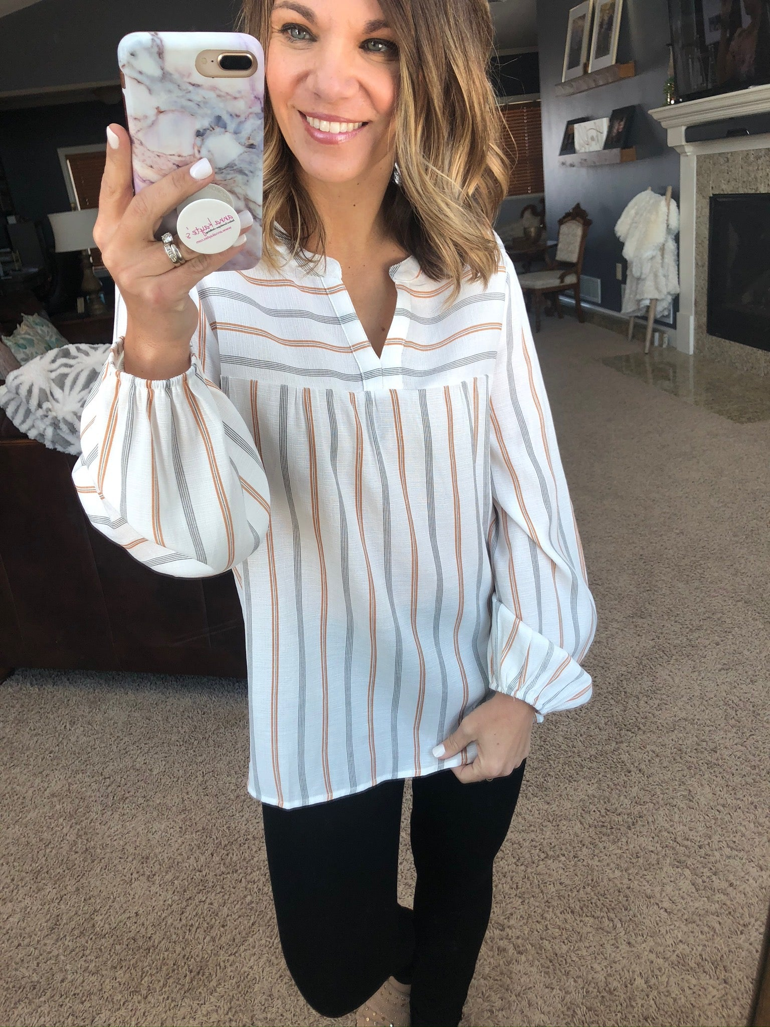 Every Chance I Get Ivory Long Sleeve Blouse with V-Neck and Cinched Cuffs