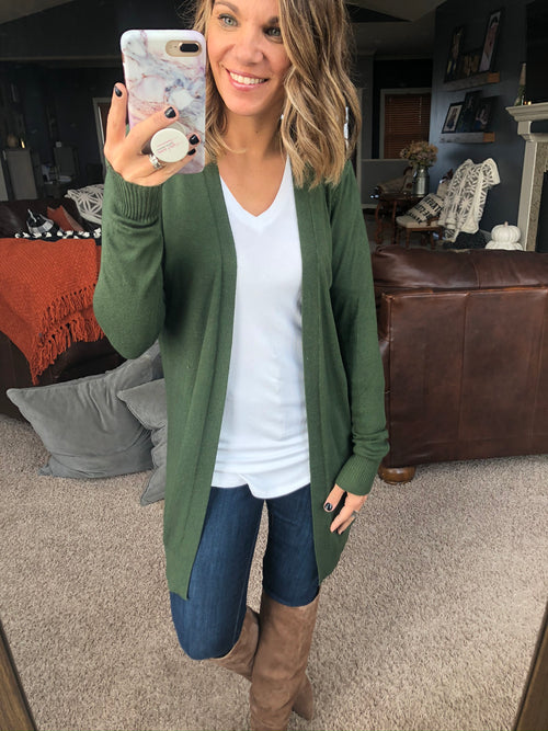Always On The Run Forest Green Open Front Cardigan
