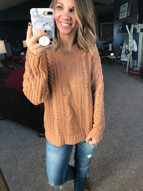 It's A Wonderful Life Cable Knit Sweater- Sunset