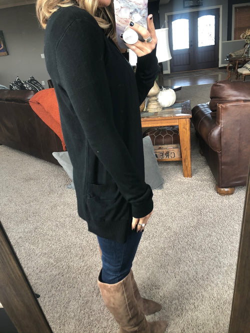 Anything For Love Black Open Front Cardigan with Pockets