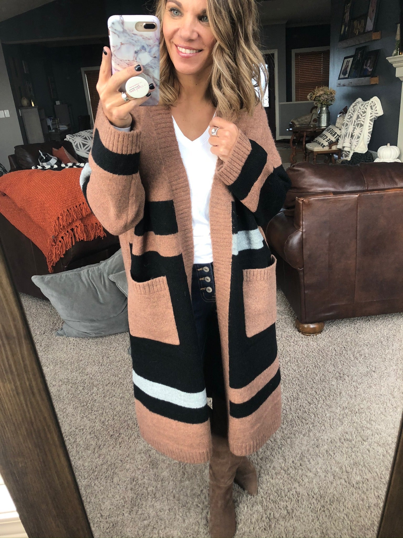 Comes Naturally Heathered Chestnut and Black Duster Length Cardigan