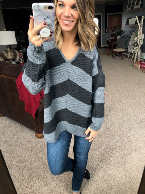 All Is Found Black/Grey Stripe V-Neck Sweater