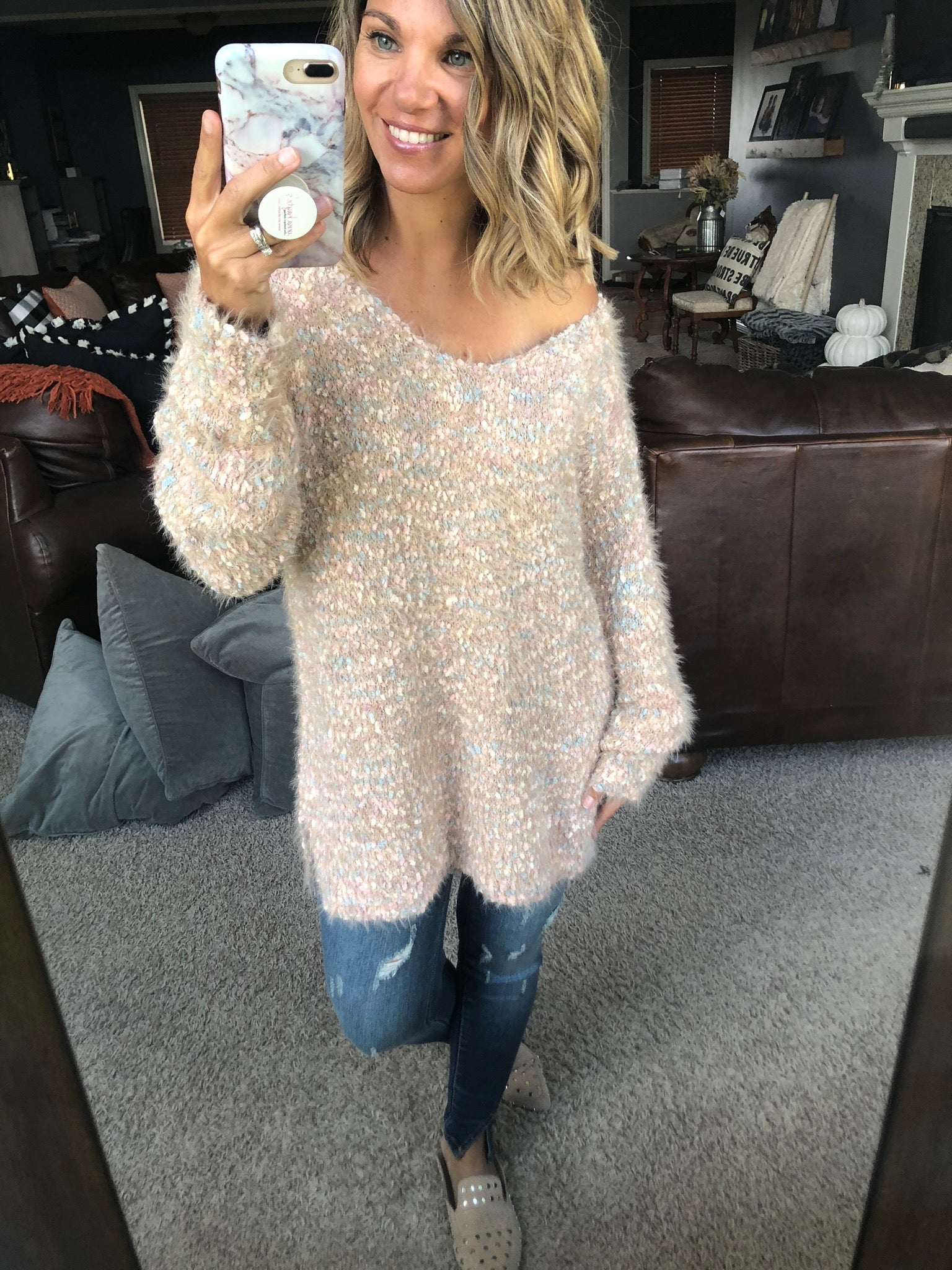 Cotton Candy Clouds Oatmeal Mix Popcorn Mohair V-Neck Tunic Sweater