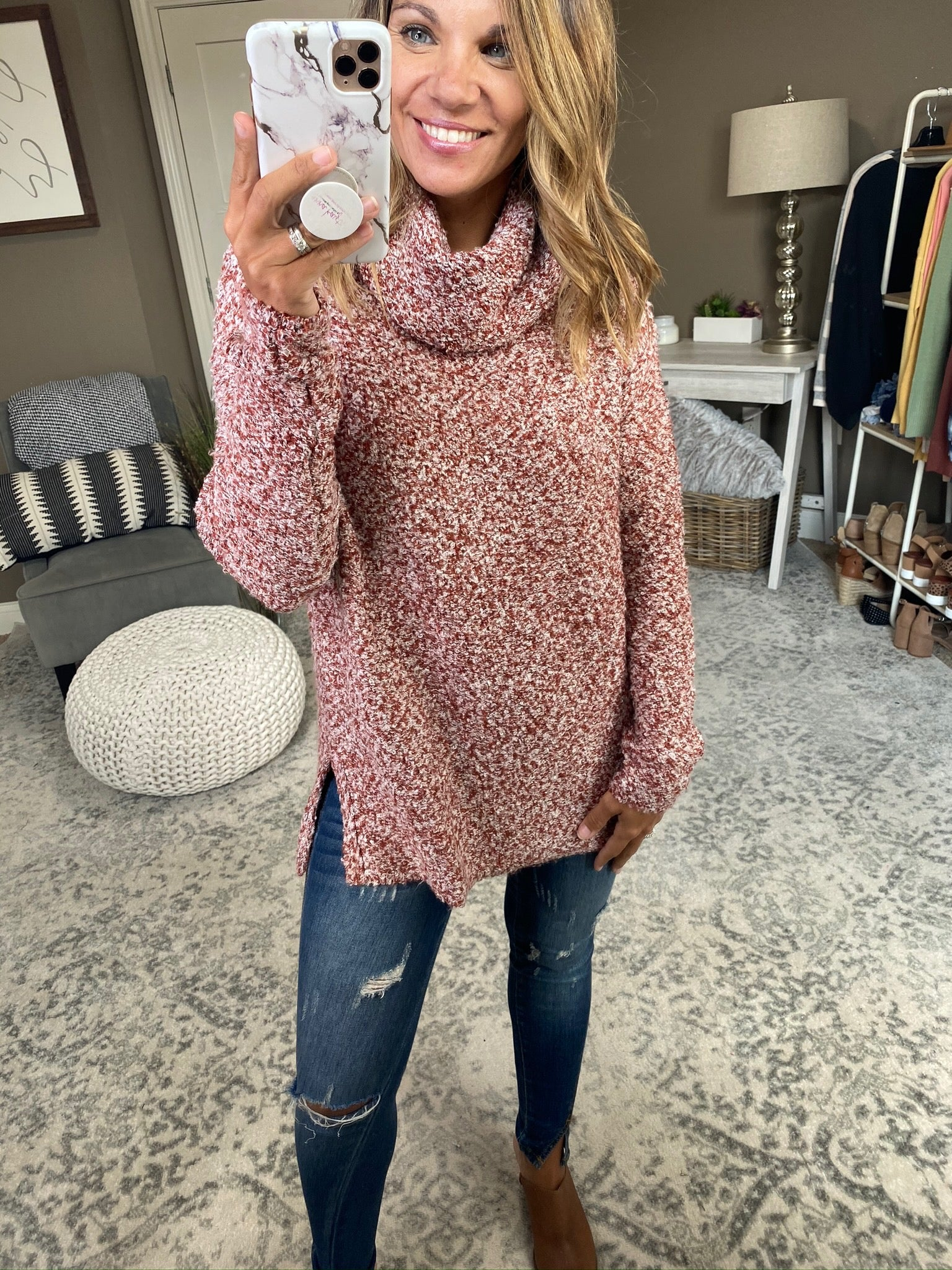 Singing Every Song Rust and Ivory Chunky Knit Turtleneck Sweater