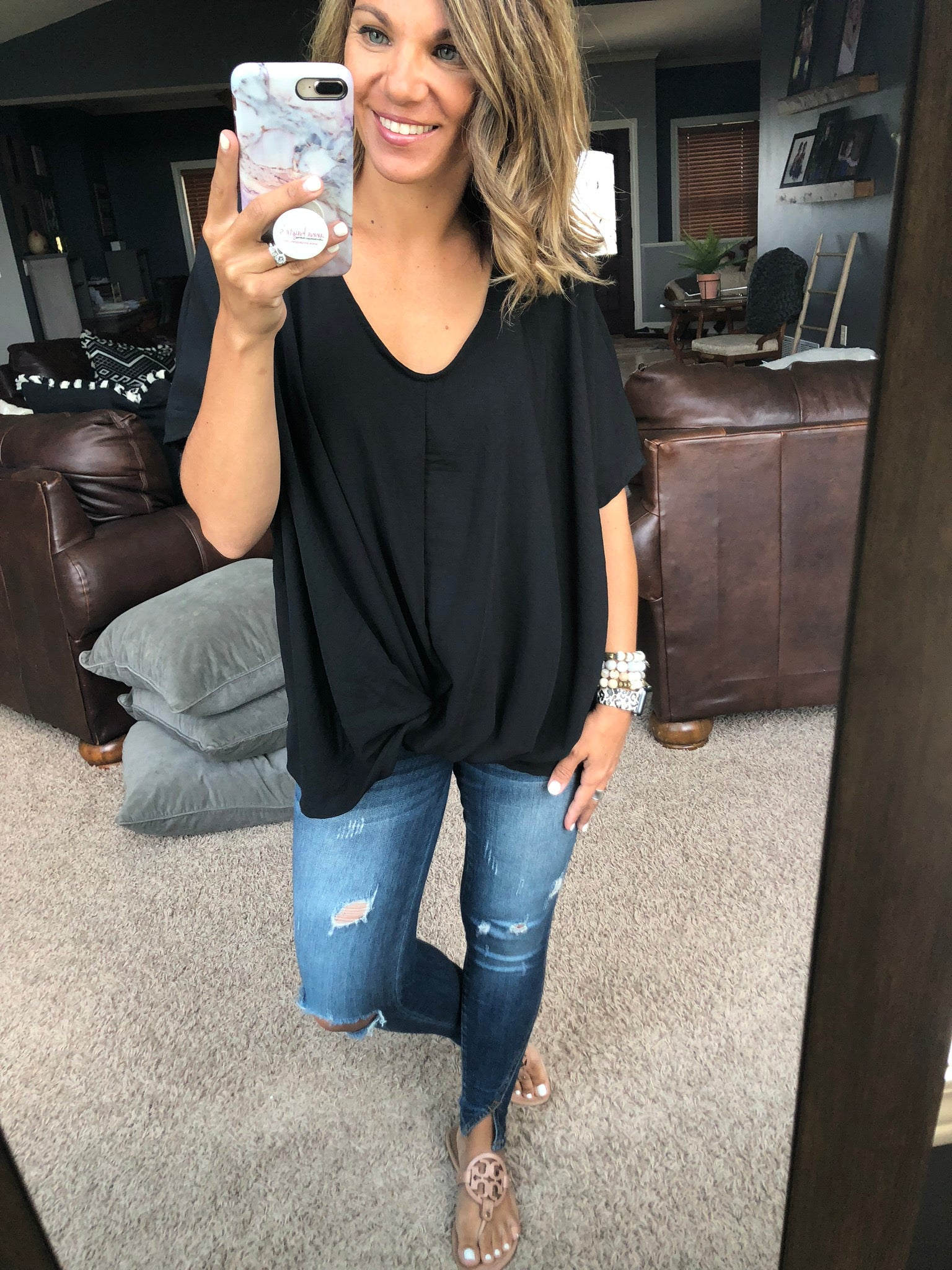 Great Opportunities Front Knot Short Sleeve Top