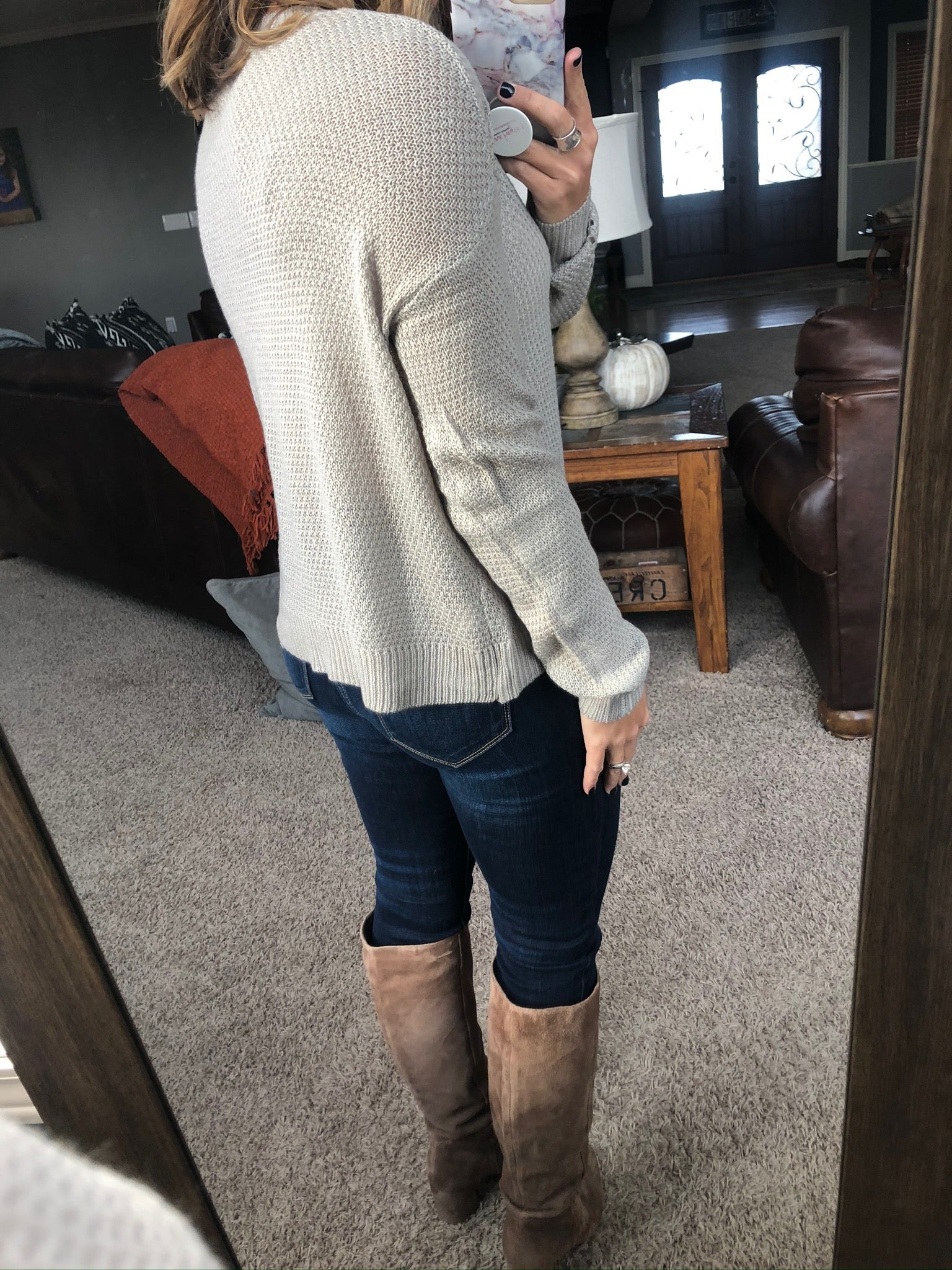 Figure Everything Out Classic Knit Crewneck Sweater- Taupe
