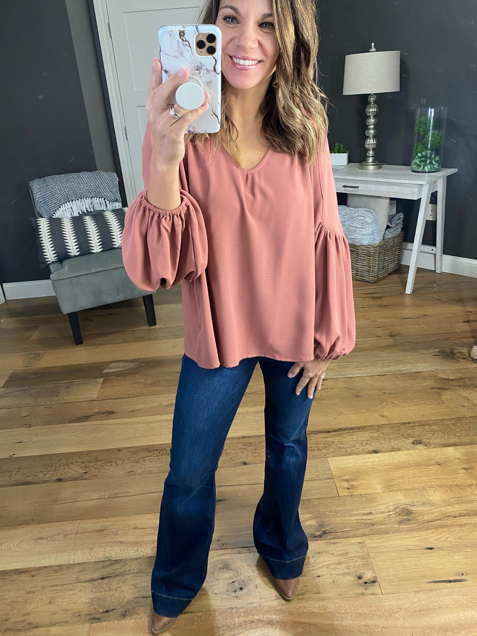 Sweetheart Marsala V-Neck Blouse with Balloon Sleeves