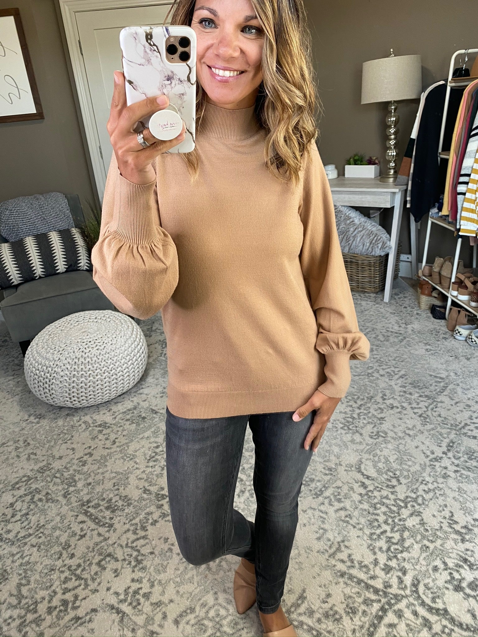 Down This Road Mock Neck Sweater with Balloon Sleeve--Multiple Options