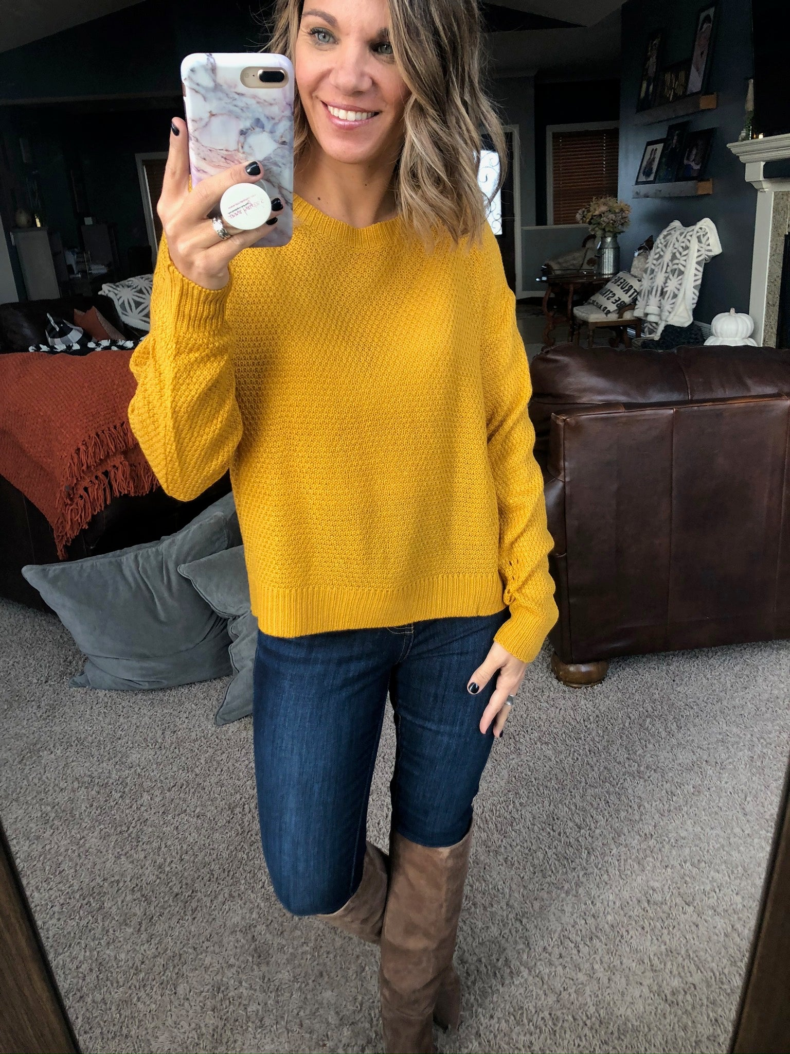 Figure Everything Out Classic Knit Crewneck Sweater- Mustard