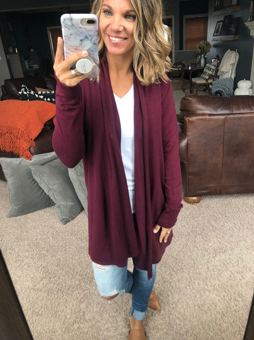 All The Ways Open Front Cardigan- Burgundy