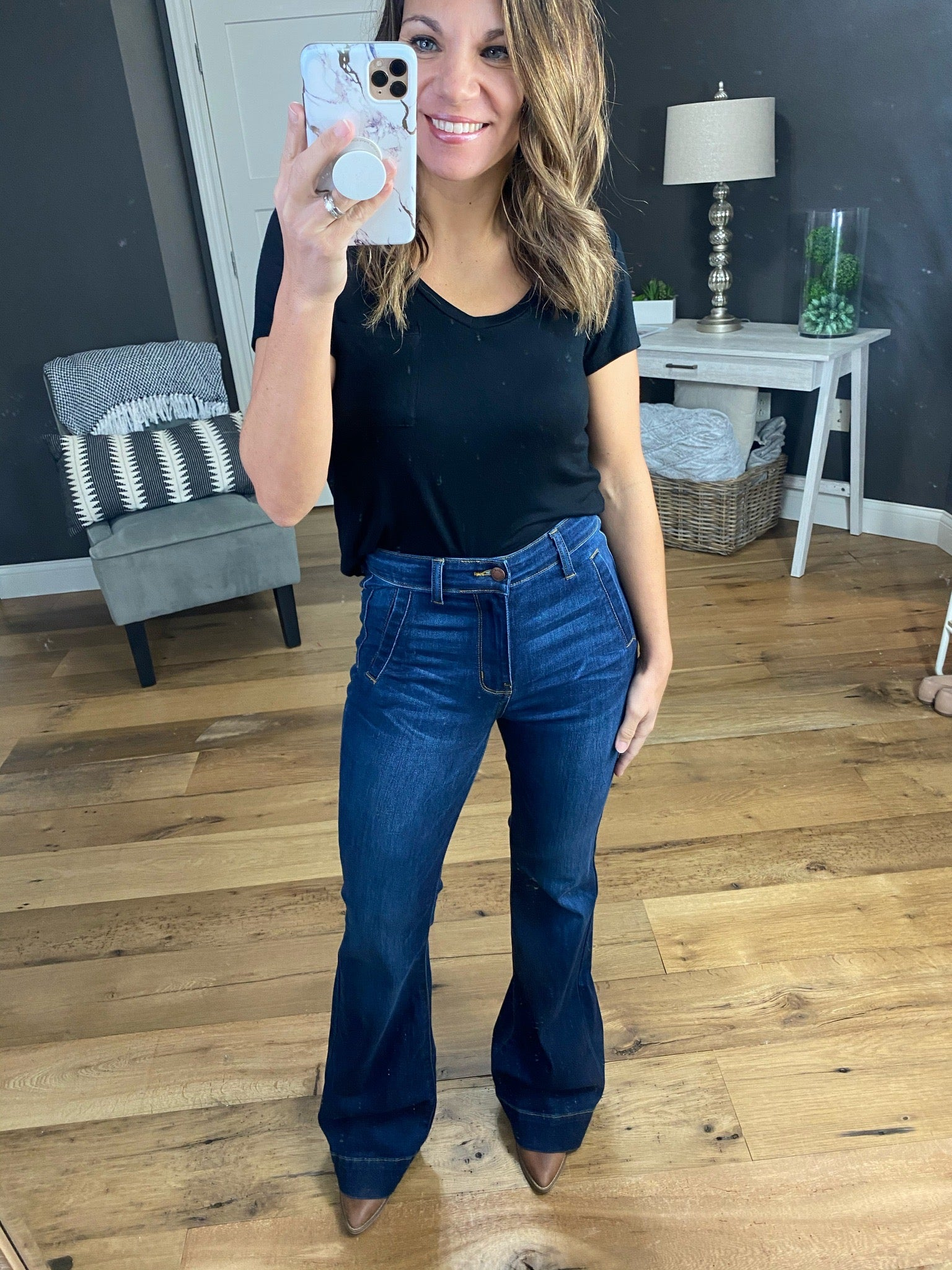 Mood Changes Dark Wash High Rise Trouser Flare Jeans