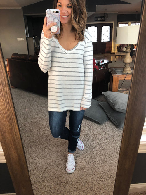 Paired To Perfection Ivory and Heather Grey Stripe Long Sleeve