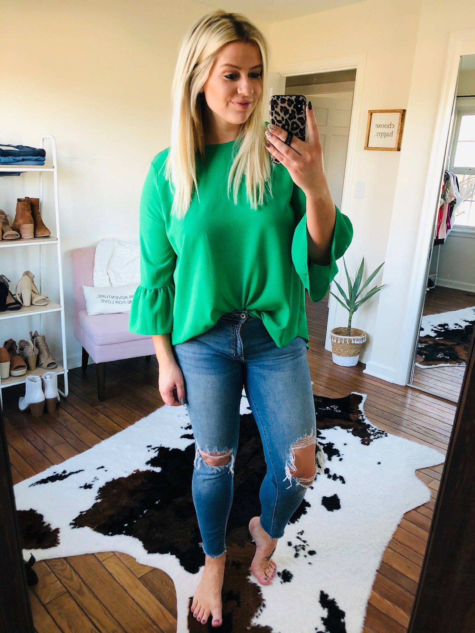 Every Little Thing Kelly Green Blouse with Bell Sleeve