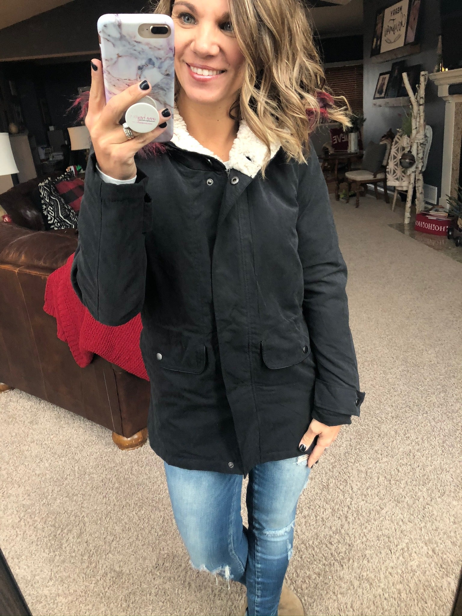 Let It Snow Black Cargo Jacket with Sherpa Lined Hood and Faux Fur Trim