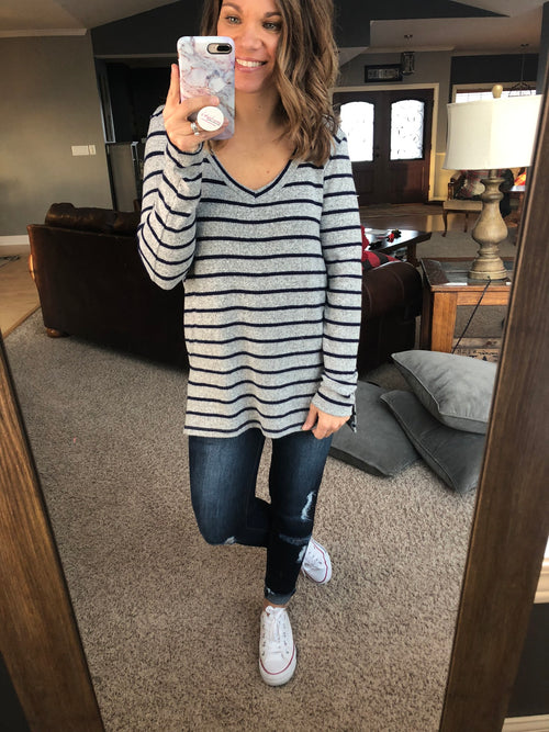 Paired To Perfection Heather Grey and Navy Stripe Long Sleeve