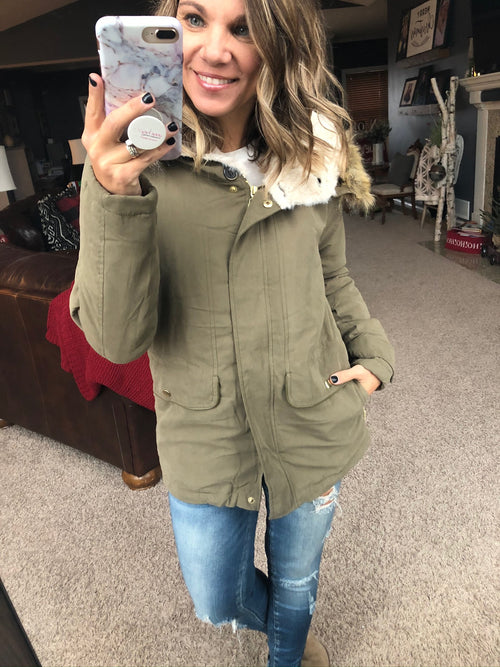 Let It Snow Light Olive Cargo Jacket with Sherpa Lined Hood and Faux Fur Trim