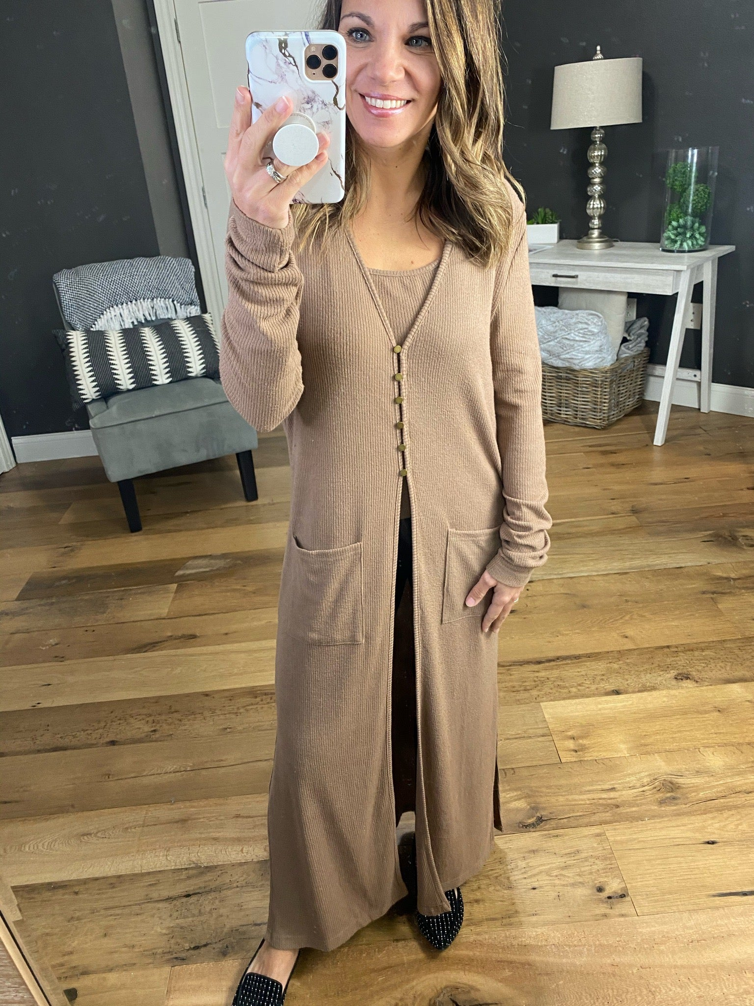 Rolled Into Town Ribbed Duster Cardigan with Cami Set - Multiple Options