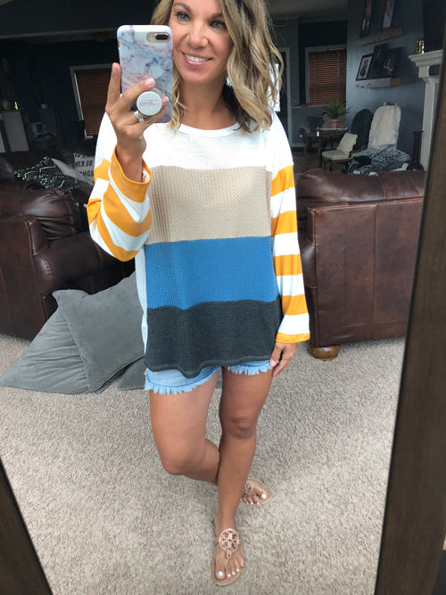 Have Mercy Color Block Waffle Long Sleeve