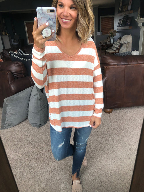 Half Past You Ivory and Rust Striped Long Sleeve V-Neck with Exposed Seams