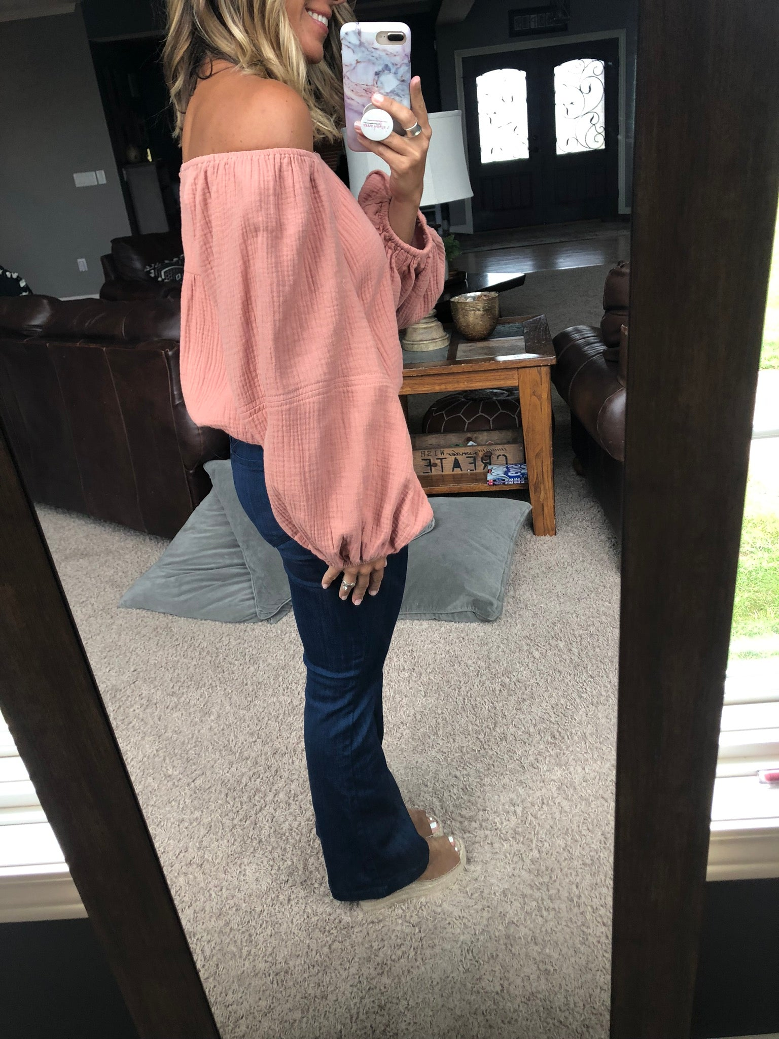 Got This Feeling Dusty Peach Off Shoulder Balloon Sleeve Top