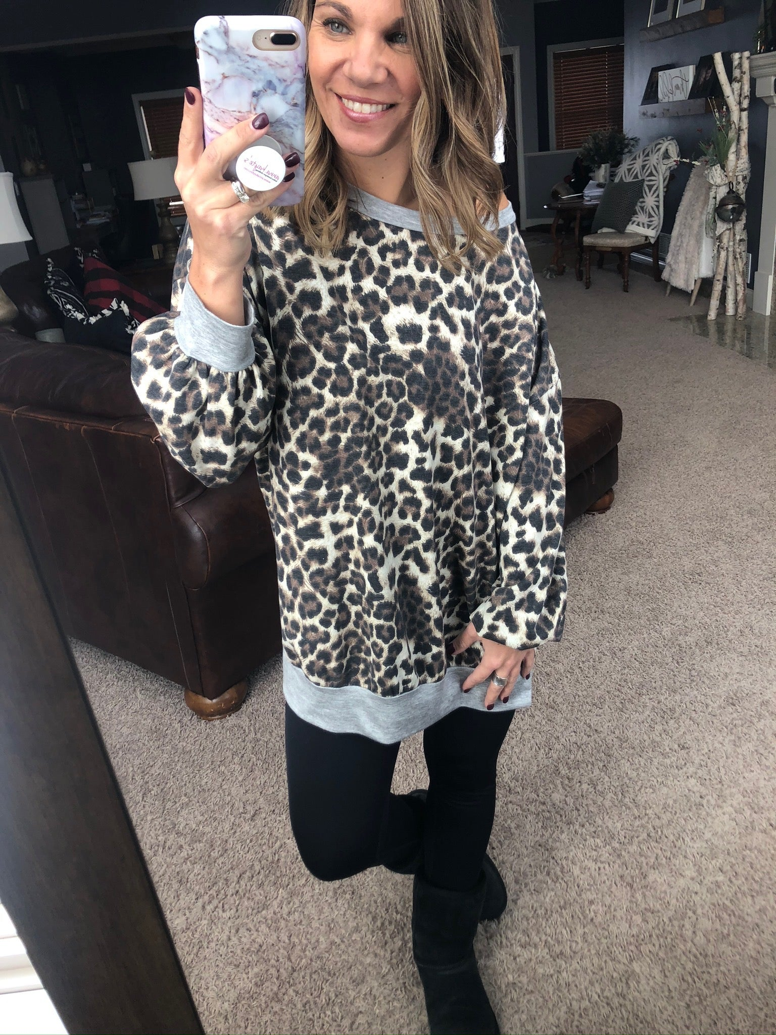Me and You Leopard Lightweight Crew Neck Sweatshirt with Grey Hem