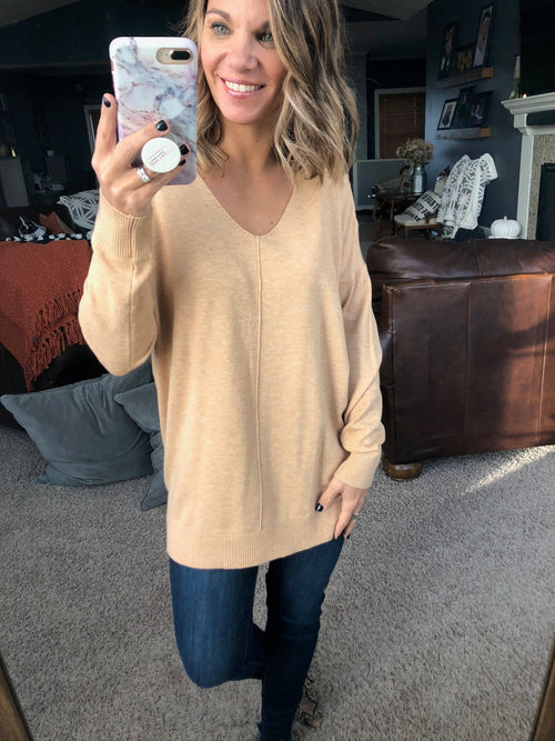 I Think I'm In Love Buttersoft V-Neck Exposed Seam Sweater- Camel