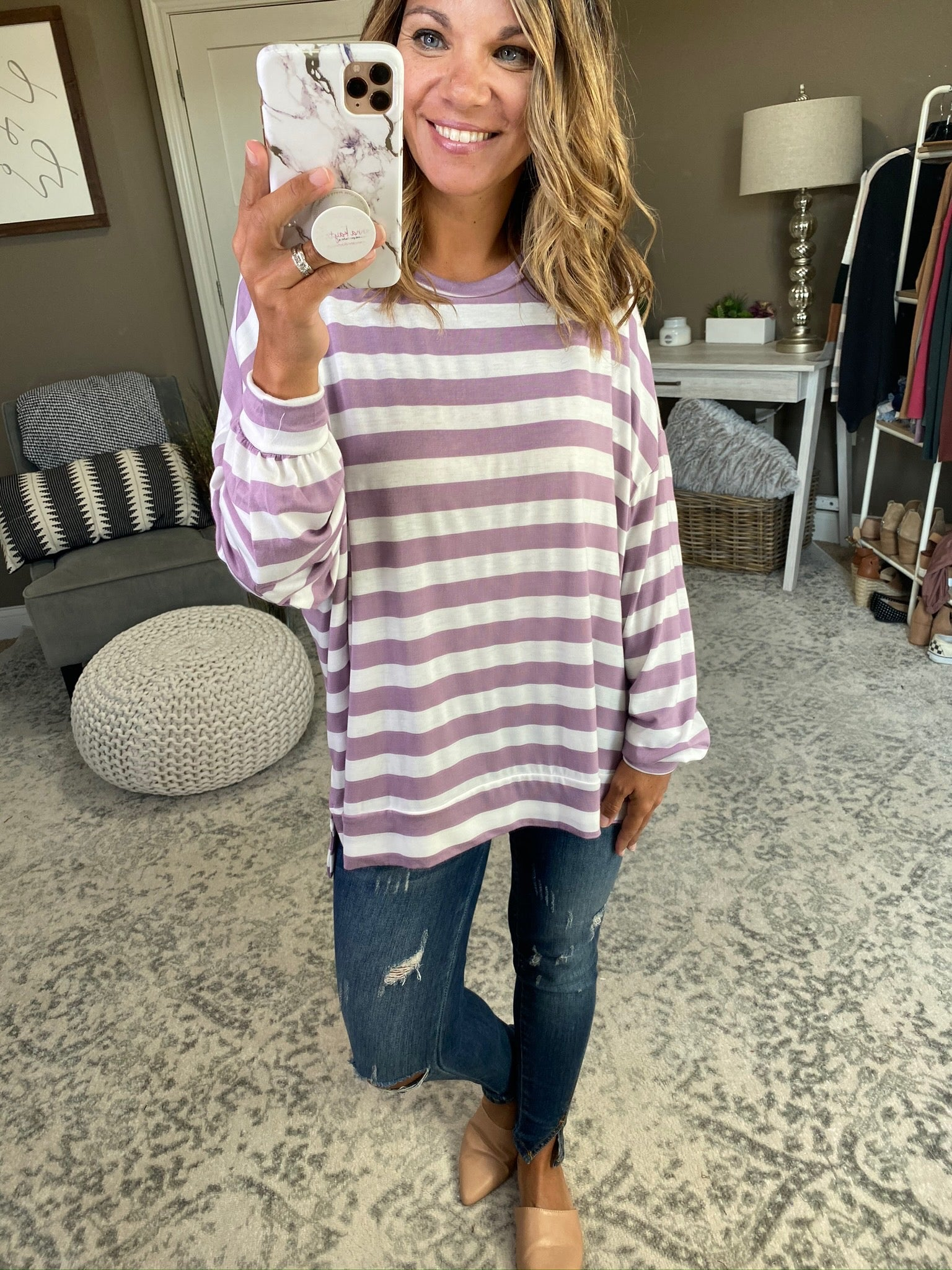 Chasing You Stripe Long Sleeve With Slight Balloon Sleeve and Split Hem- Multiple Options
