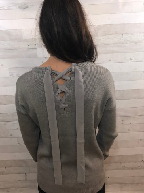 Now or Never Lace Up Sweater