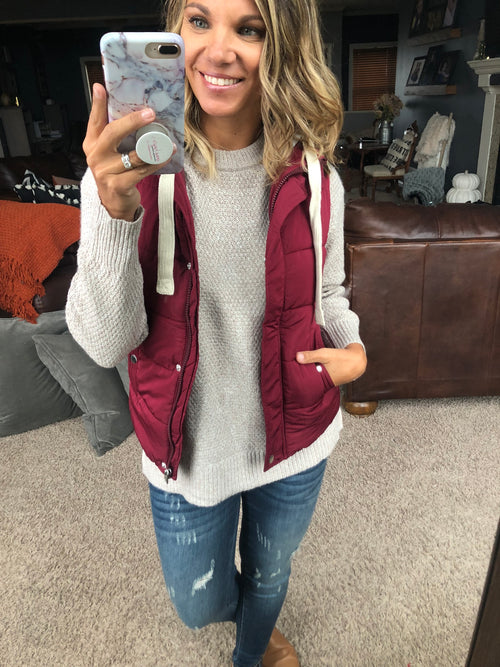 Sweet Little Moments Wine Hooded Puffer Vest