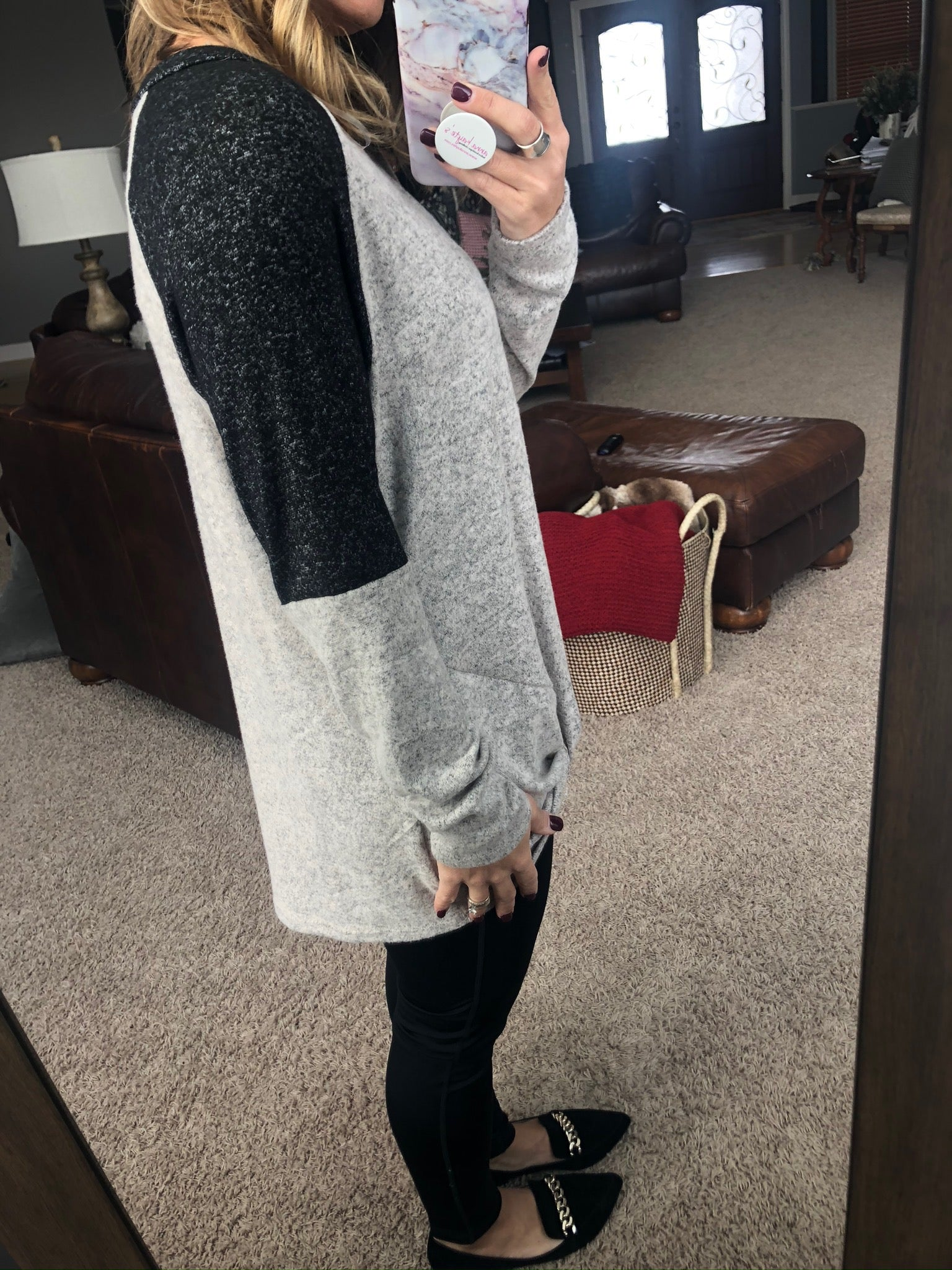 You Found Me Heather Grey Brushed Fleece with Black Detailing and Front Twist