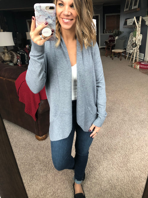 Find Your Way Open Front Cardigan- Heather Grey