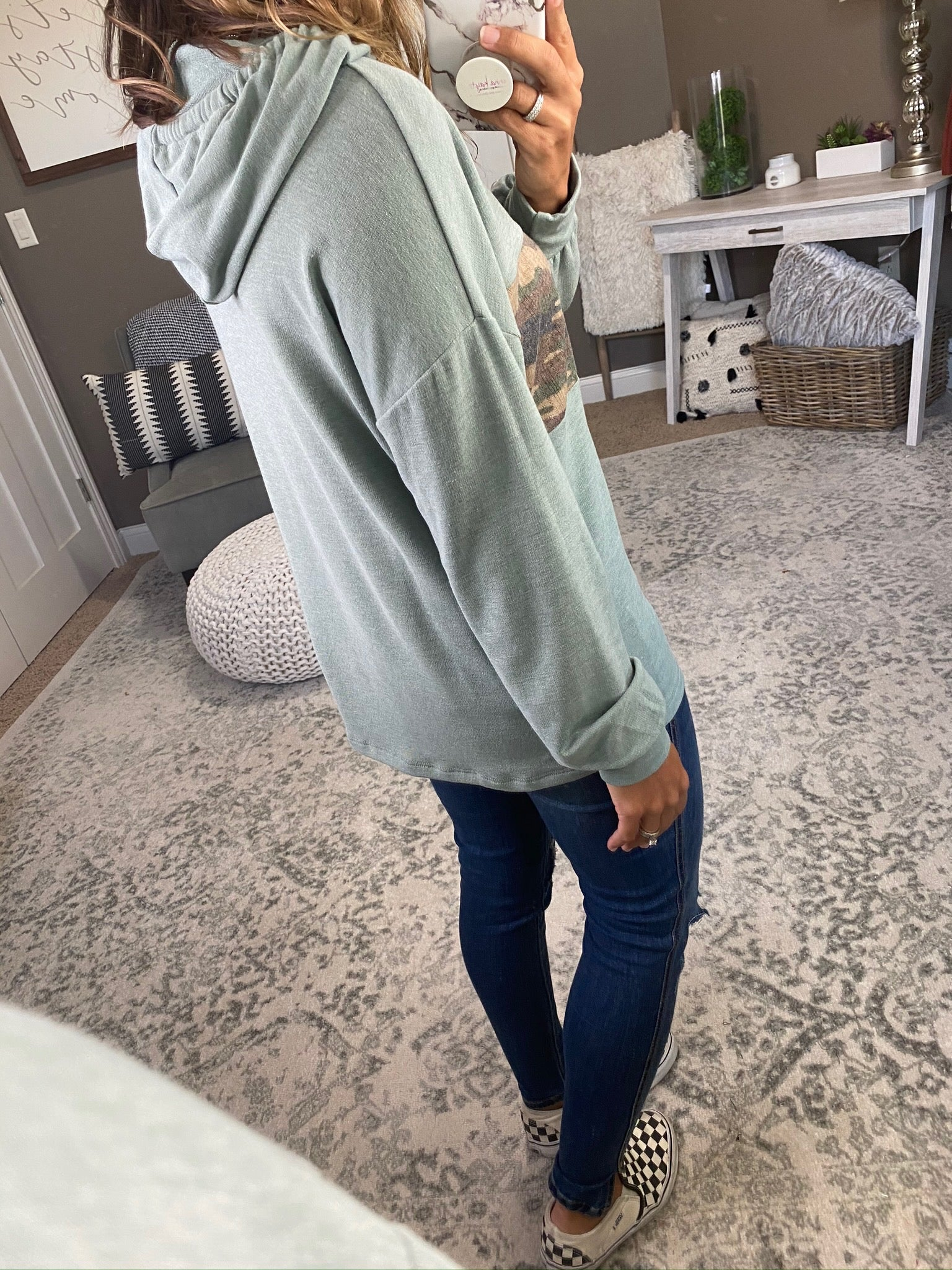 Road Trippin' Sage Hoodie with Camo Coloblock