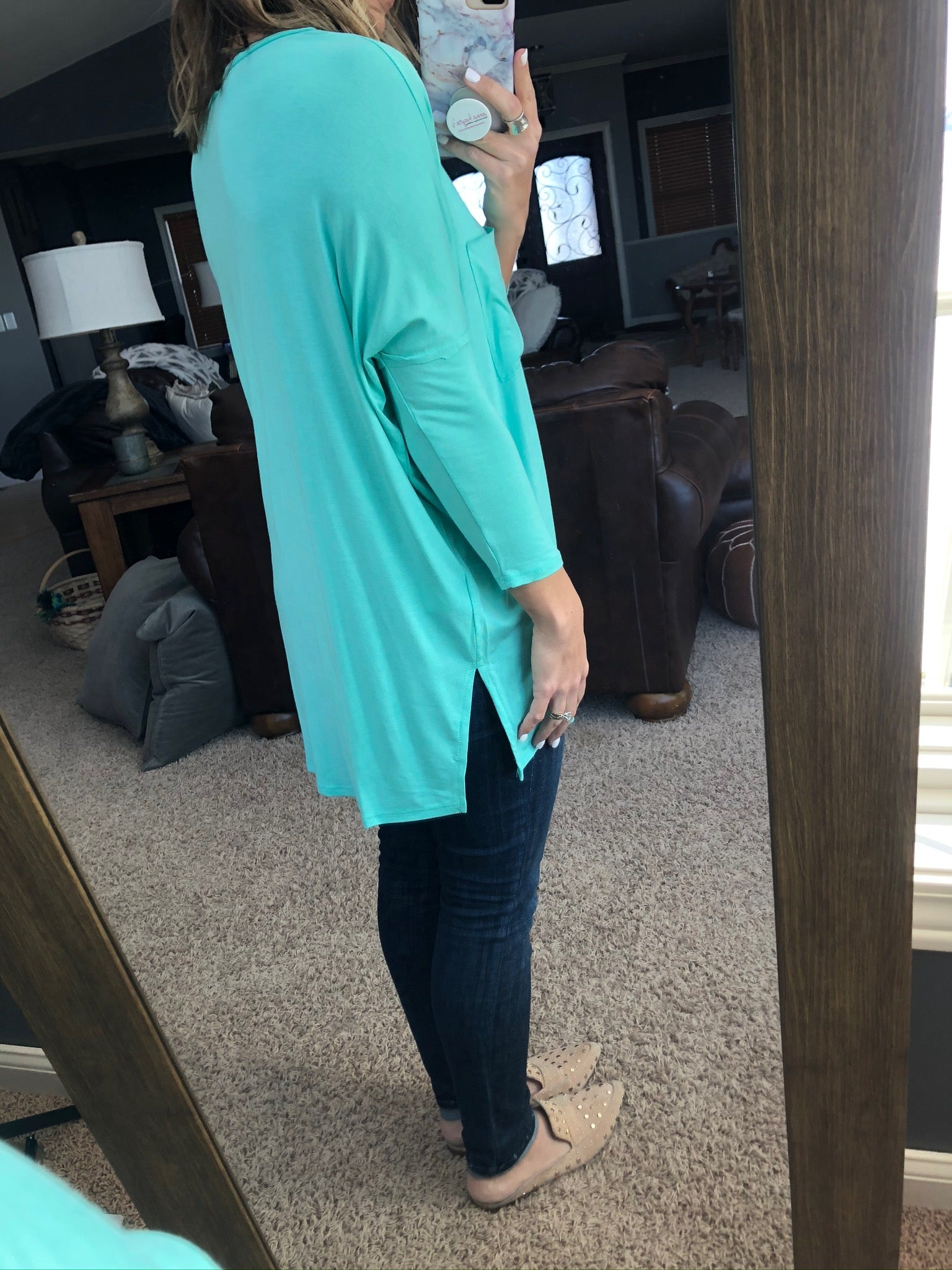 Perfect Example 3/4 Sleeve Tunic With Pocket- Electric Ocean