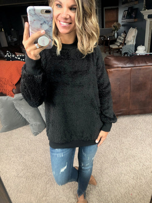 Come Back To Me Black Crewneck Sherpa