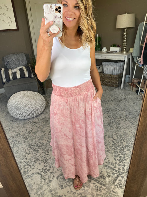 Dance With Me Vintage Wash Pink Tie Dye Maxi Skirt