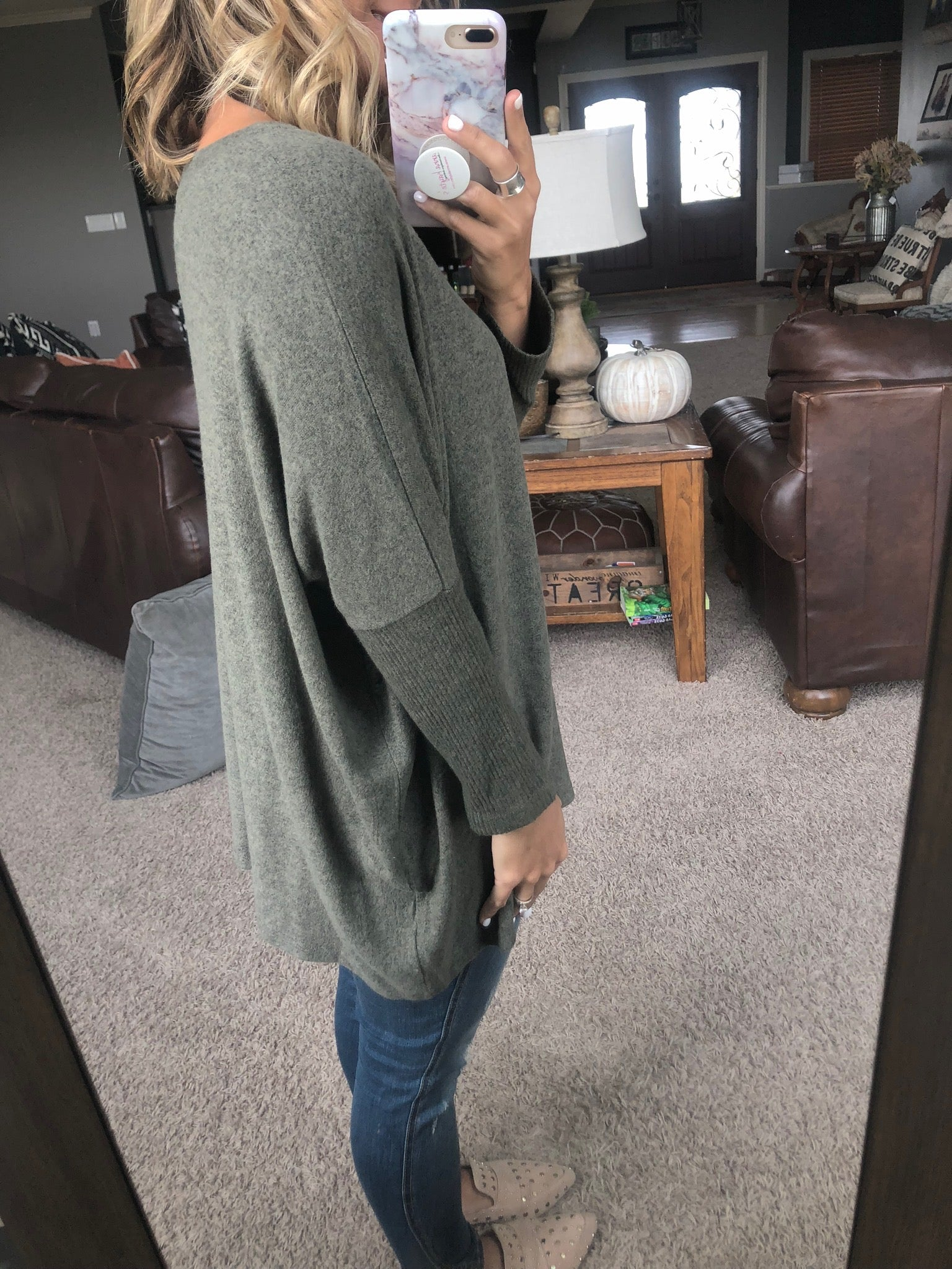 Love Strong Brushed Fleece V-Neck Dolman- Heathered Olive