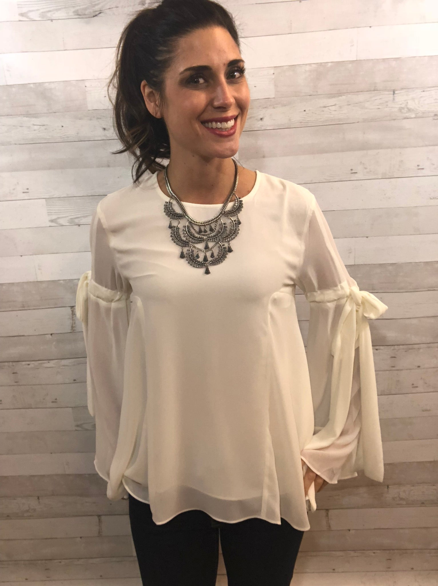 Moving Along Ivory Blouse Top