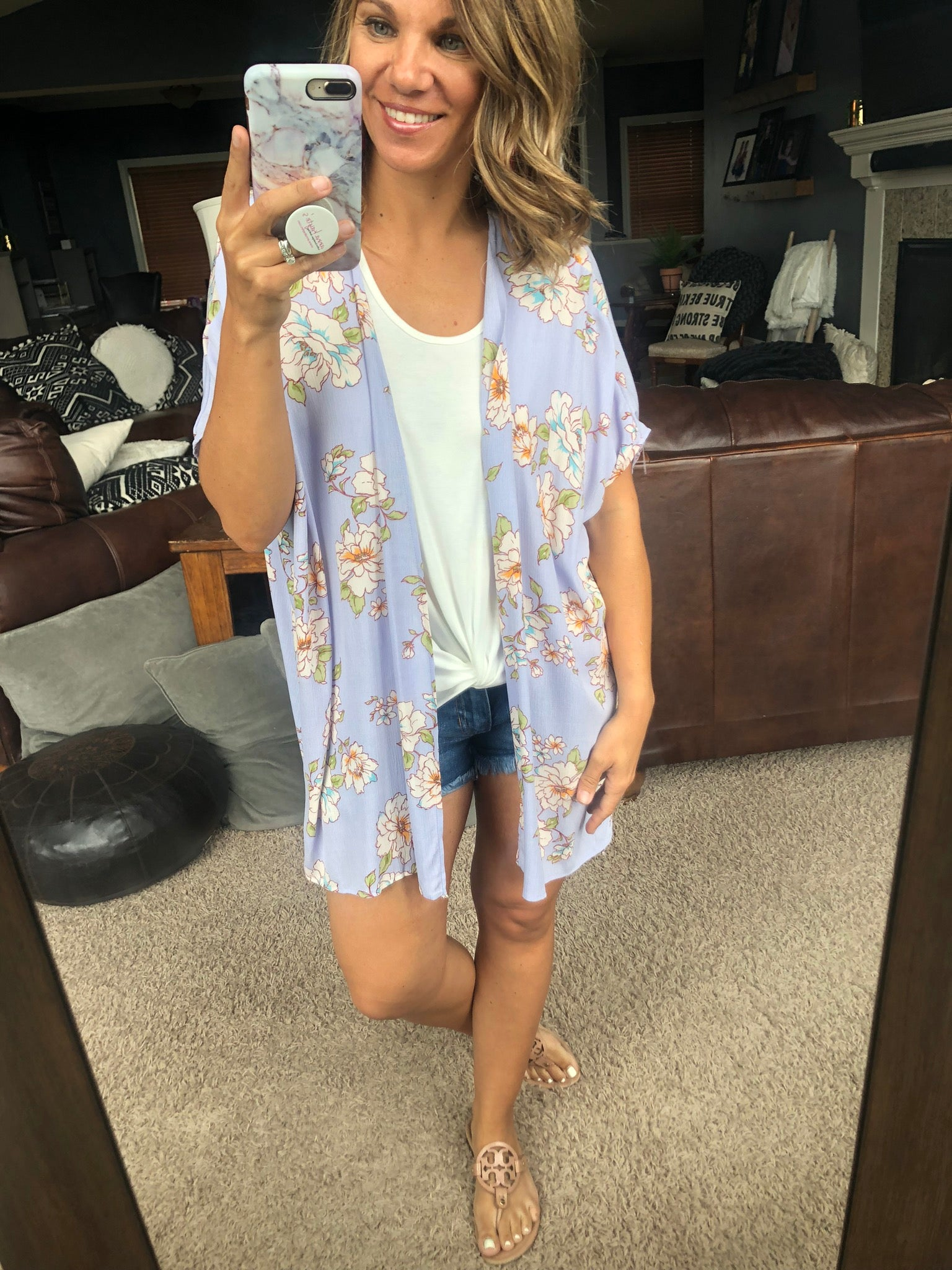 Living in the Moment Lavendar Floral Kimono