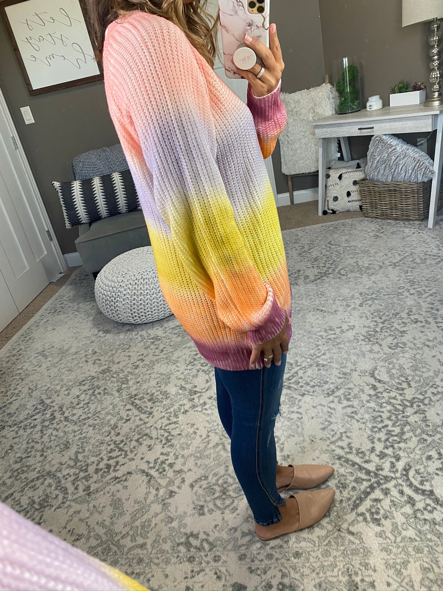 Afternoon Rainbow Dip Dye Knit Crew Neck Sweater