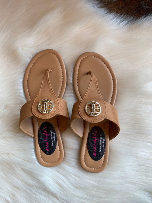A Night Out Tan Sandals With Gold Emblem