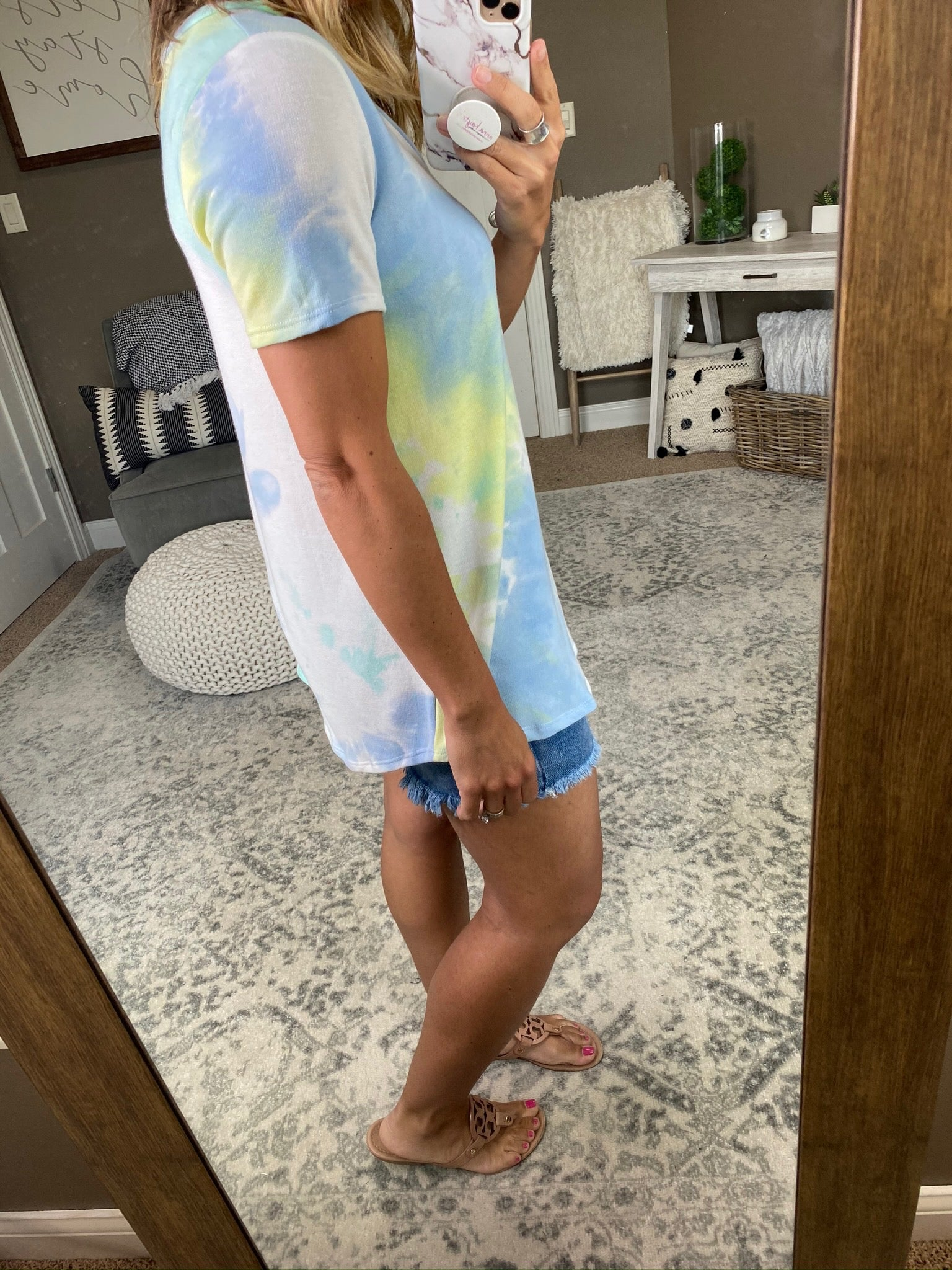 There You Go Mint & Blue Mix Tie Dye V Neck Tee