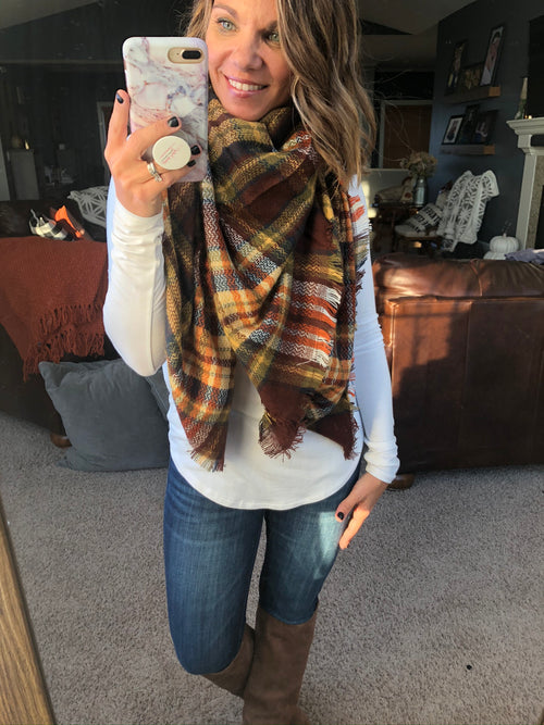 Your Song Brown, Navy, Mustard Blanket Scarf