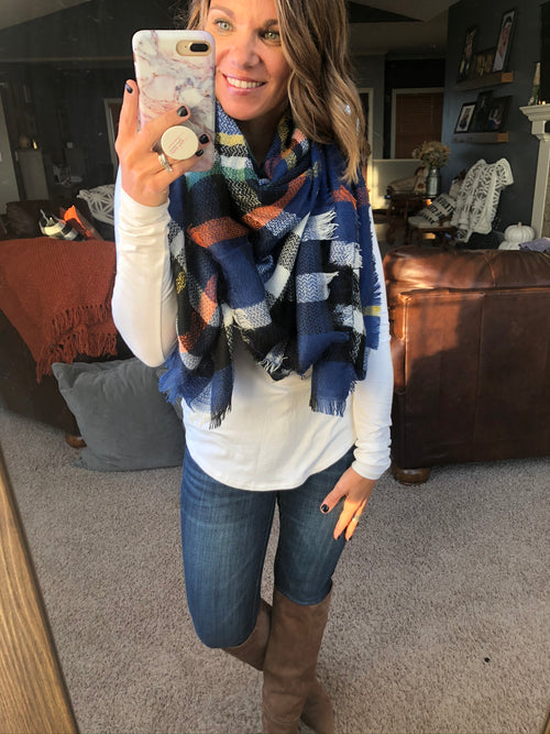 Don't Go Breaking My Heart Blue, Black,  Ivory Mix Blanket Scarf