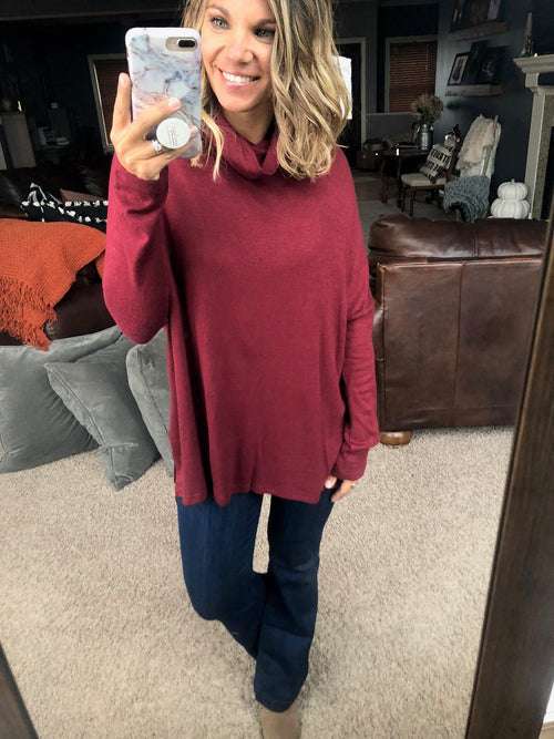 Doin' Fine Knit Cowl Neck Oversized Hi-Low Long Sleeve- Wine
