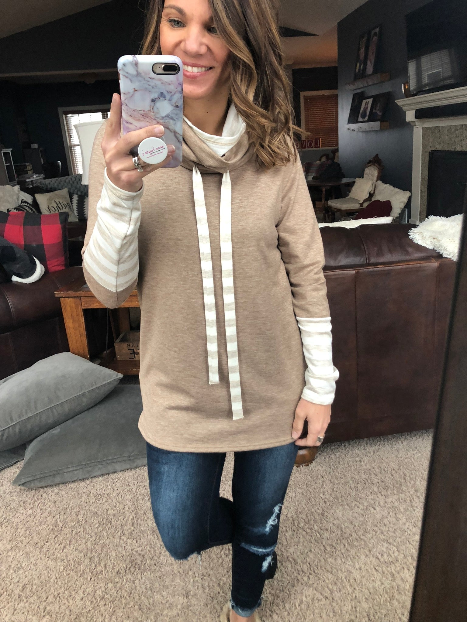 Warm and Toasty Cocoa Cowl Neck Long Sleeve