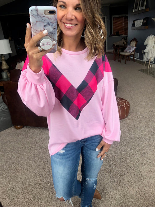 Queen Of Hearts Pink Crew Sweatshirt with Pink Plaid Chevron Detail