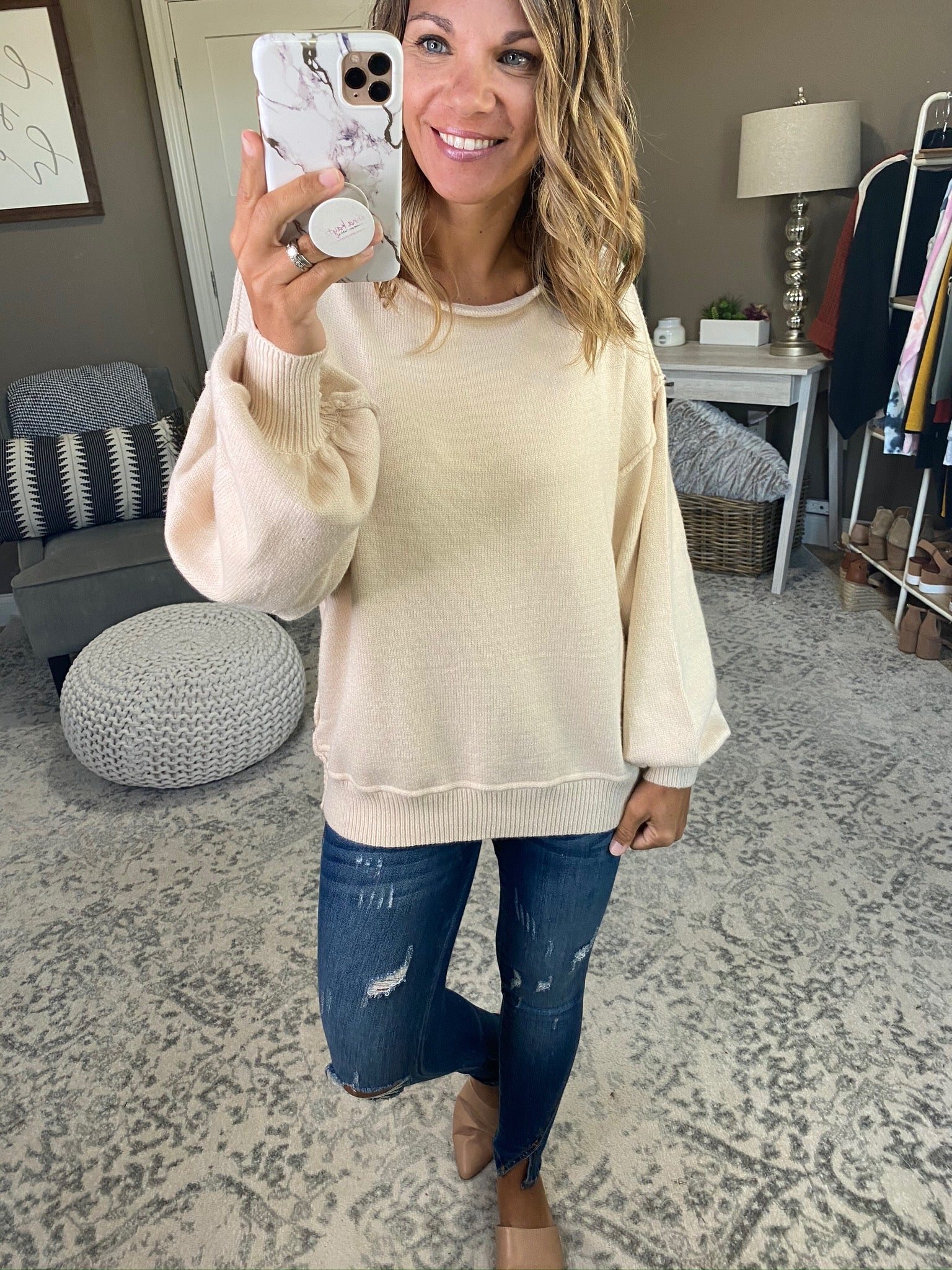 Next Chapter Boatneck Sweater with Balloon Sleeve- Multiple Options