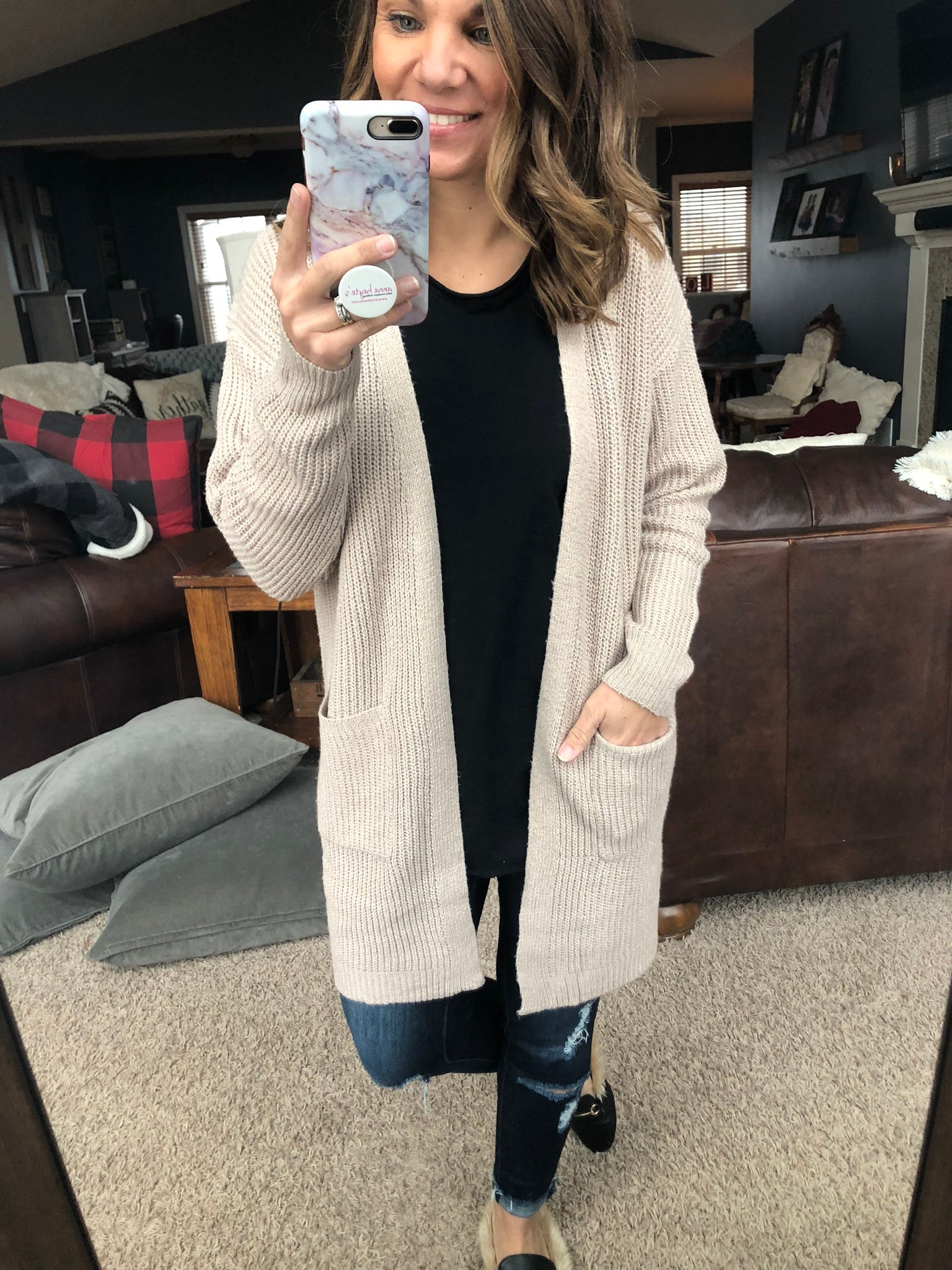 Truth and Love Oatmeal Knit Cardigan